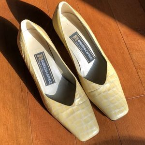 Vintage Yellow Square Toed  Heels